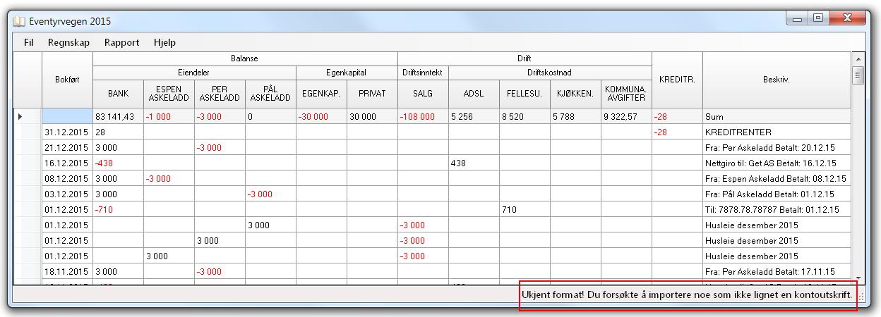 Import av ukjent format i dagboken